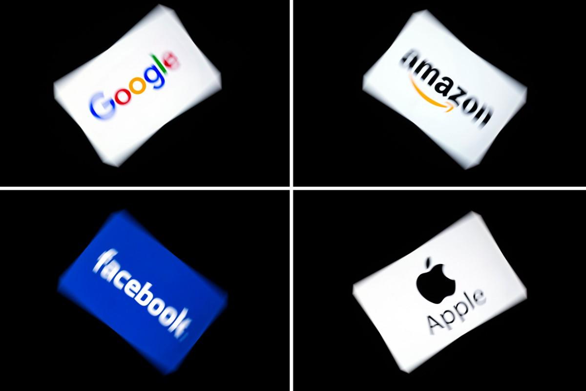 「GAFA」と呼ばれる米IT大手4社のロゴ。左上から時計回りでグーグル、アマゾン、アップル、フェイスブックの各社