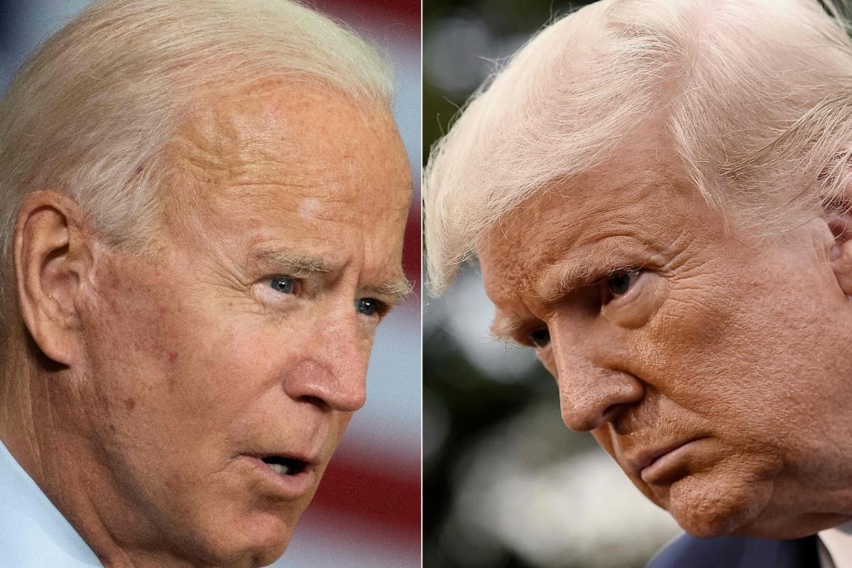 米大統領選を争う現職のトランプ大統領(右)と民主党候補のバイデン前副大統領(AFP=時事)