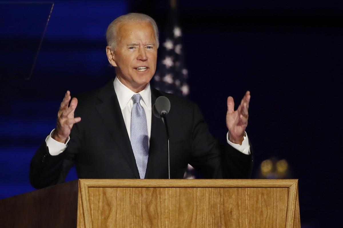7日、米東部デラウェア州ウィルミントンで演説し、大統領選の勝利宣言をするバイデン前副大統領(EPA時事)