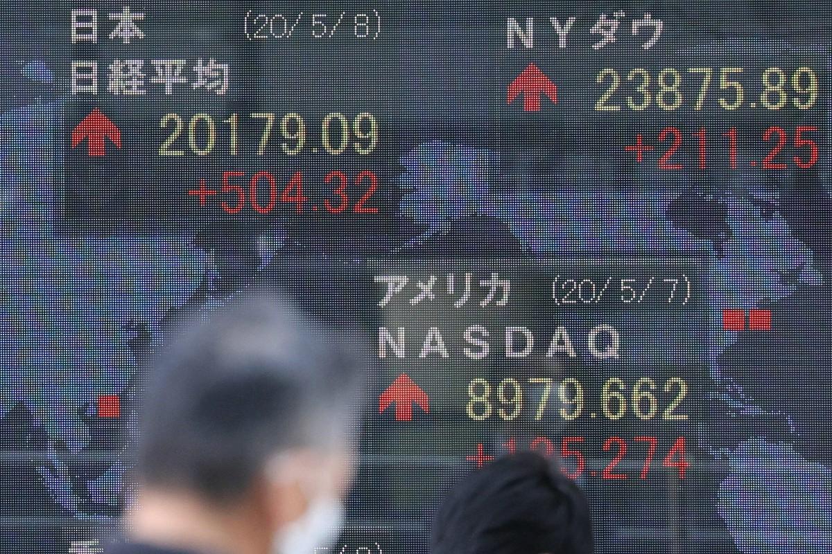 大幅続伸した日経平均株価を示す電光ボード=8日、東京都中央区