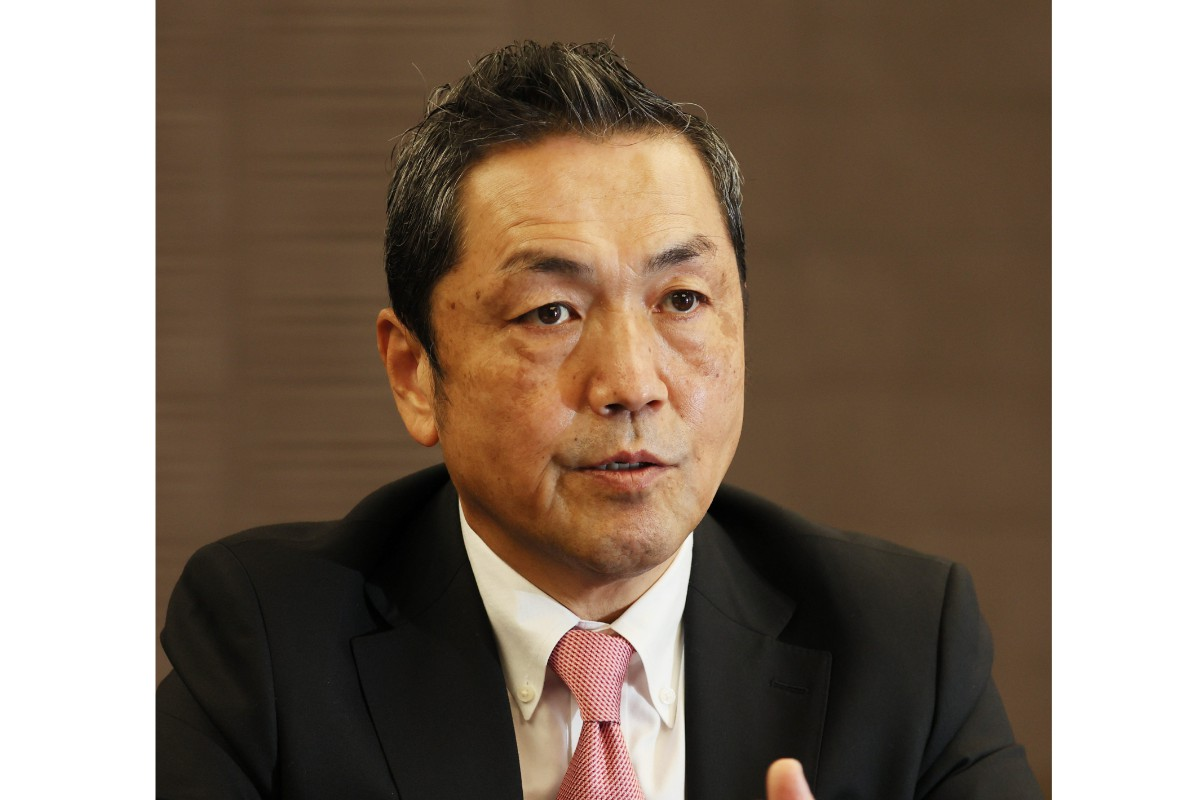 インタビューに答えるパランティア・テクノロジーズ日本法人の楢崎浩一最高経営責任者(CEO)=10月26日、東京都新宿区